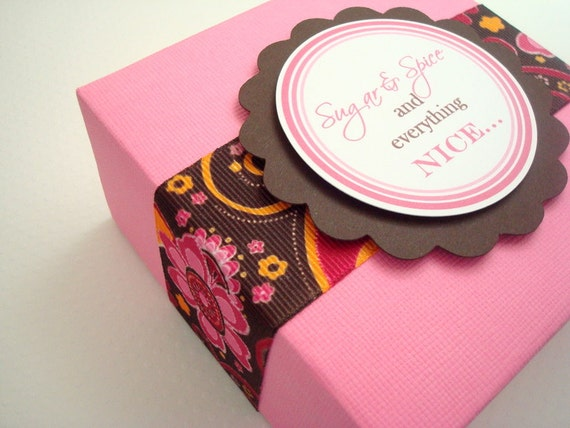 Pink Gift Box with Brown Floral Print Ribbon and Personalized Tag