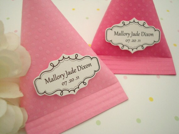 Candy Pouch Party Favors, Pink Polka Dots, Set of Ten