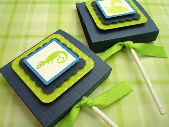 Reptile Lollipop Party Favors, Navy and Lime Green, Set of Ten