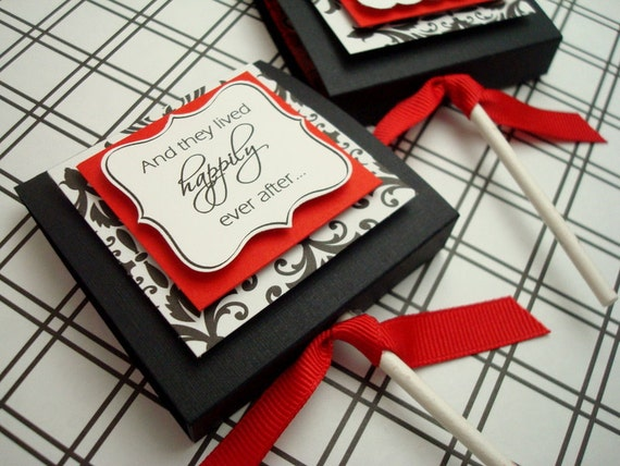 Custom Wedding Lollipop Favors, Black and Red Damask, (50) Reserved for abeck