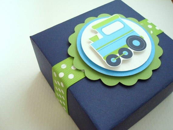 Birthday Train Favor Boxes, Navy Blue and Lime Green, Set of Ten