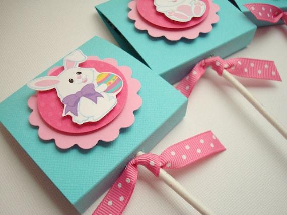 Easter Bunny Lollipop Party Favors, Pink and Aqua, Set of Ten