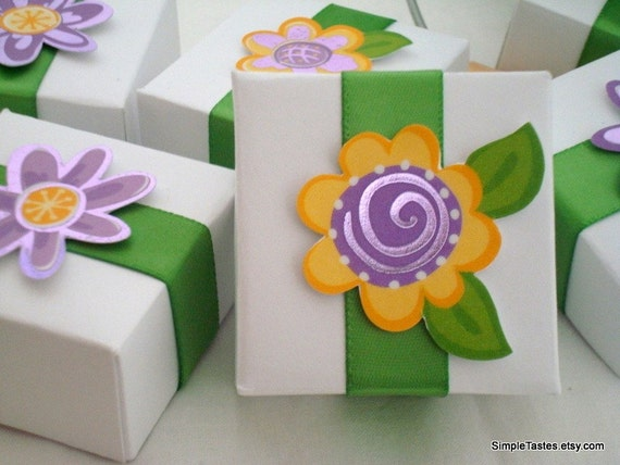 White Favor Boxes with Purple and Yellow Accents, Set of Ten