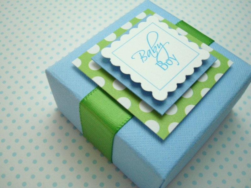 Green Baby Gifts Uk : Personalized baby boy favor boxes blue and green set of ten