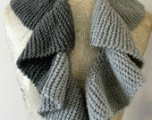 Curly Gray Scarf-Handmade knitting scarf-Gray skies- Dark Gray Light Gray--- unisex-gift for her and him-Autumn
