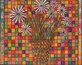Colorful Bouquet  ------White  Flower -------       Original Drawing--Home decor