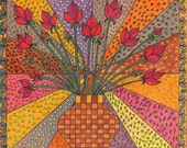Colorful Bouquet ------Red   Flower---------      Original Drawing--Home decor
