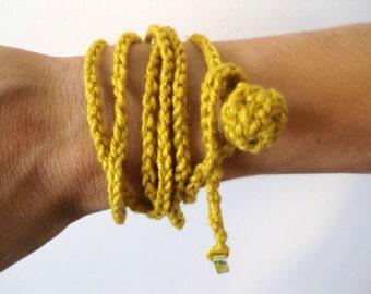 Textile jewelry-yellow  sun-----------100percent Cotton----------- Bracelet-Necklace.