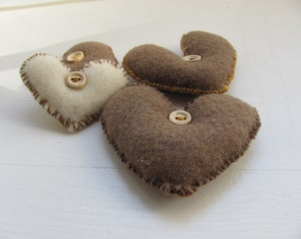 White  Brown  Lev -------- Felt Heart.----.Valentine's Day