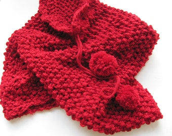 Handknitted scarf-------Cotton------RED---Soft--Gift under 50 USD--Autumn