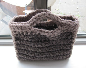Valentines day gifts--Gray brown knitted bag------Wool------Holiday gift--