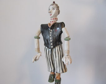 The CirCuS  mAn------- Ceramic Marionette---Holiday gift--Valentine's Day