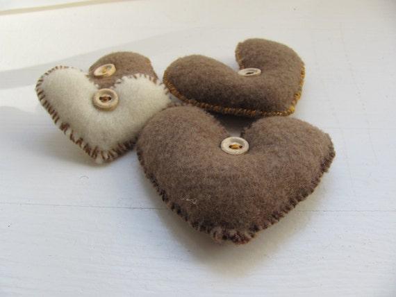 White  Brown  Lev -------- Felt Heart.----.Valentine's Day