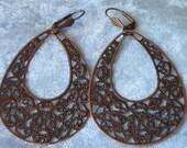 Copper Filigree Teardrop Dangle Earrings