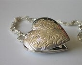 Silver Heart Locket, Romantic Victorian Floral on Woven Chain