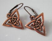Celtic Triquetra Earrings, Antiqued Copper Triangular Knot Leverback Earwires