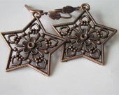 Filigree Star Earrings, Antiqued Copper Dangle