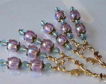 Gold Chandelier Earrings, Beaded Earrings, Gemstone and Glass, Purple Glass Chandelier Earrings, Blue Quartz Stone Beads