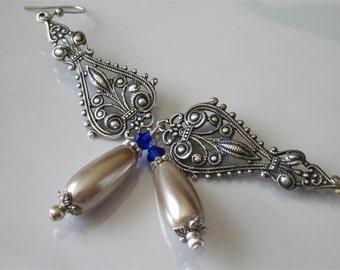 Victorian Wedding Earrings, Antiqued Silver Filigree Chandelier, Caramel Pearl Teardrop Earrings, Elegant Bridal