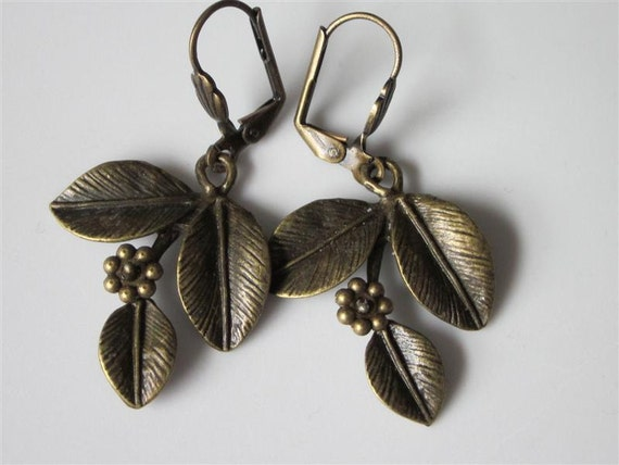 Metal Leaf Earrings Antiqued Bronze Flower