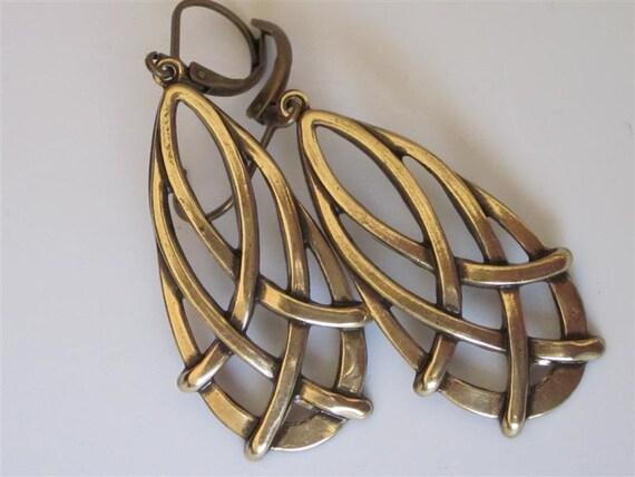 Celtic Teardrop Earrings Antiqued Gold Brass Weave, Brass Metal Earrings, Dangle Earrings, Celtic Jewelry