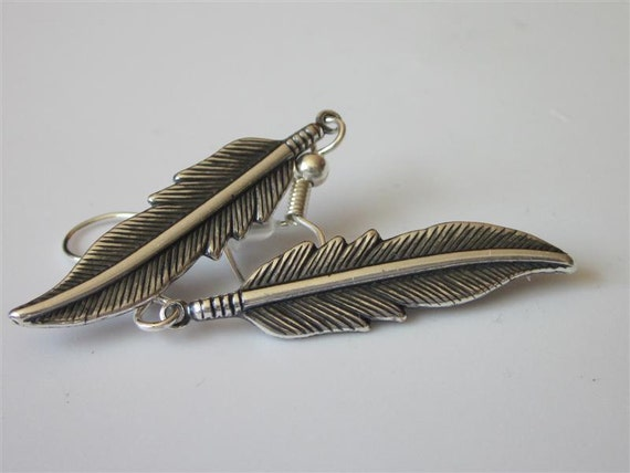 Antiqued Silver Feather Earrings Larger,  Metal Feather,  Silver Dangle Earrings, Feather Drop,  Silver Feather, Tribal
