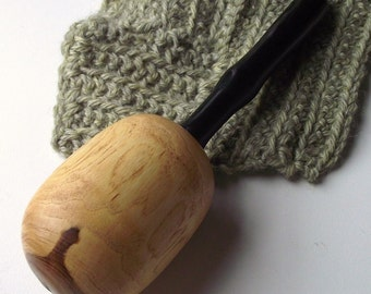 Wooden Darning Egg - Hand Turned Wood Darning Egg with Ebony Handle - Eco-friendly