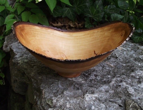 Natural Bark Edge Pear Wood Turned Bowl - Eco-Friendly Pear Wood Wooden Bowl - Rustic Home Decor
