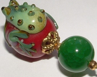"""HATPIN big  FROG  8"""" gorgeous LAMPWORK bead with huge green jade bead to match-my own design"""