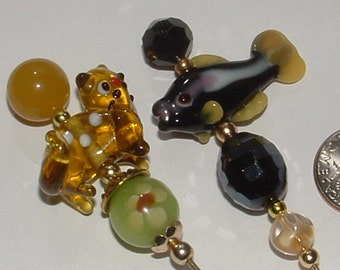 """2 HATPINS -CRITTER line- my own design  - kitty and fish  with vintage beads real jade and lampwork 8"""""""