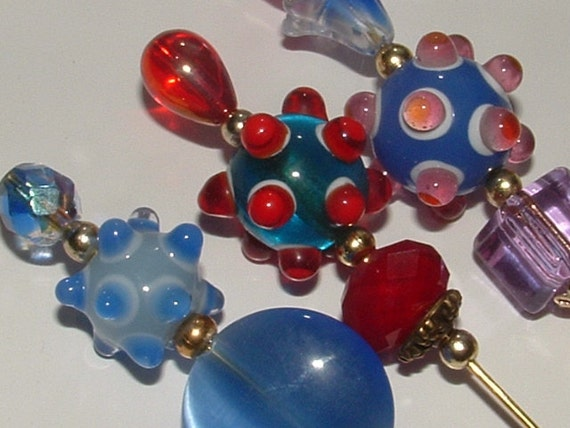 3 HATPINS - my own designs very strong colors  playful beads all glass- you get all 3 with GORGEOUS bumpy beads