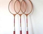Vintage Wooden Badminton Raquets Red by Wilson
