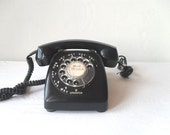 Vintage Black Rotary Telephone Mad Men Style