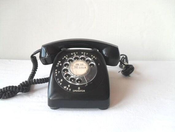 Vintage Black Rotary Telephone Mad Men Style