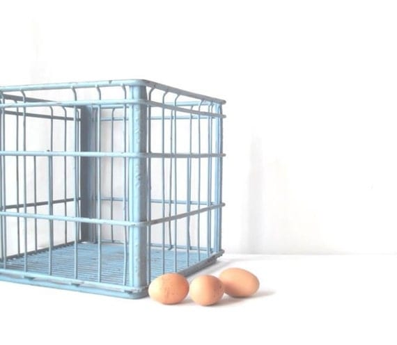 Vintage Metal Wire Milk Crate Robins Egg Blue Cottage Chic