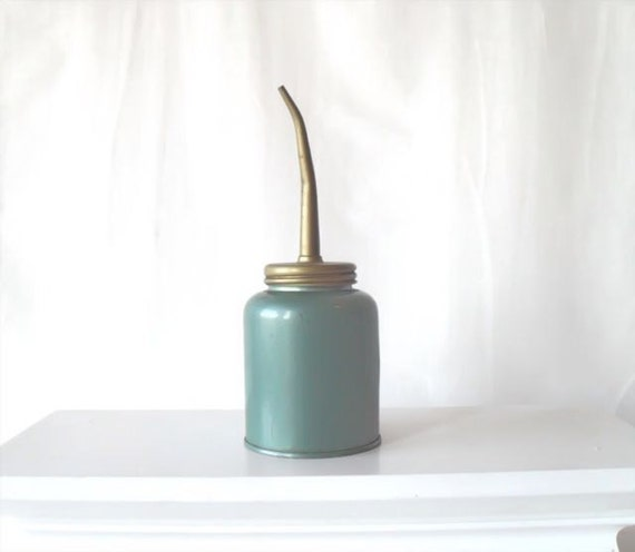 Vintage Eagle Oil Can Teal and Gold