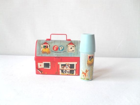 Vintage Fisher Price Toy Mini Lunch Box with Thermos
