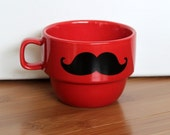 Upcycled Modern Mustache Mug in Red