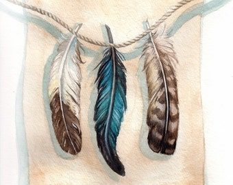 Feather Study - Print of Original Watercolor Painting