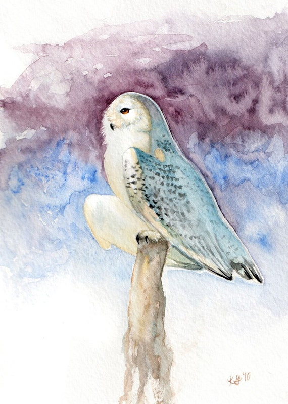 Items similar to Snowy Owl - Print of Original Watercolor ...