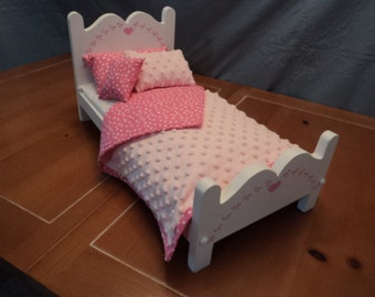 A Doll Bed and bedding Handmade, for your 18 inch doll