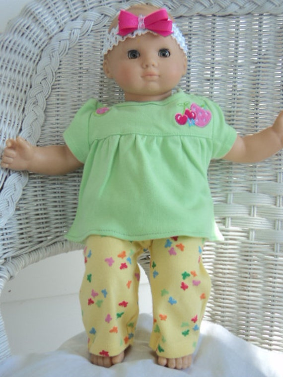 Bitty Baby Girl yellow flowered  pants and green top  3 pc. Outfit