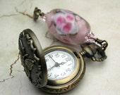 Mini Pocket Watch, Antique Brass, Pink Lampwork Bead