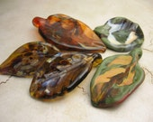 Handmade Lampwork Glass Beads Autumn Leaves, Assorted Set of 5 SRA, Now on Sale