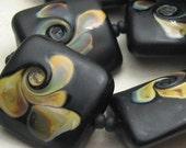 Handmade Lampwork Glass Bead Set of 8, Black Etched Nugget, Pillow, Raku Swirls