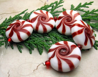 SRA Handmade Lampwork Glass Beads - Christmas Beads Peppermint Candy - Set of 5, 20mm Made to Order Jewelry Supply