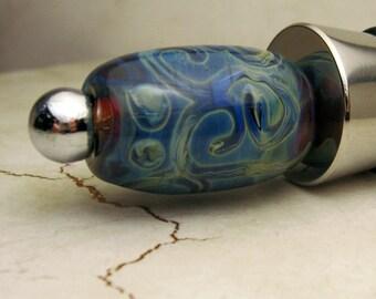 Lampwork Bead Wine Bottle Stopper with Handmade Blue Lampwork Bead Wine Lover