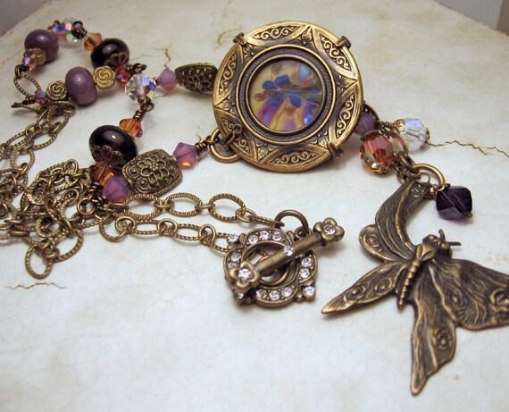 Purple Lampwork Necklace Victorian Style  Antique Brass Butterfly 'The Secret Garden'
