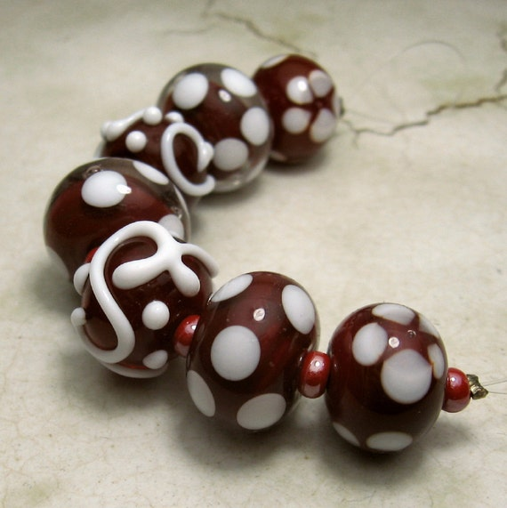 SRA Handmade Lampwork Glass Beads Cranberry Red White Jewelry Supply Now On Sale