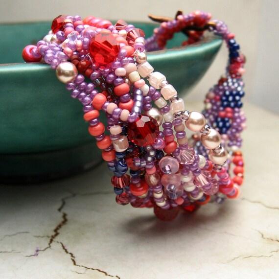Beadwork Bracelet, Freeform Peyote, Pink, Purple, Lavender, Red, Coral, Copper Starfish Clasp